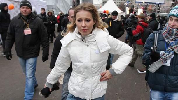 Ксенія Собчак під час одного з опозиційних мітингів у Москві
