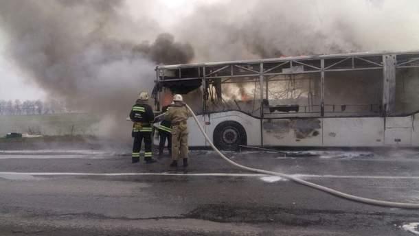 Загорелся автобус