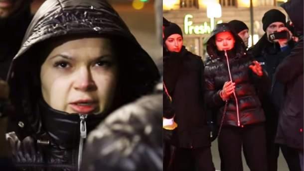 Алена Зайцева на следственном эксперименте в Харькове