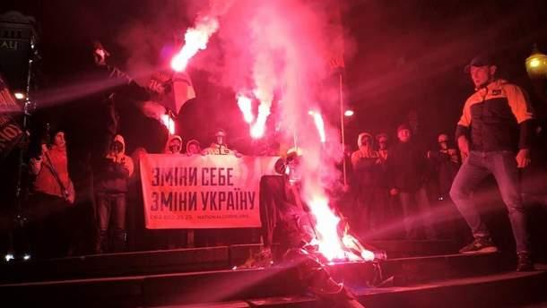 Спалили опудало Леніна