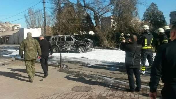 Последствия подрыва автомобиля полковника СБУ Александра Хараберюша