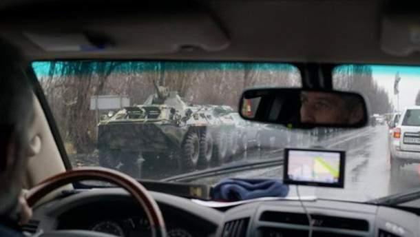 Огромная колонна военной техники боевиков покинула Луганск: