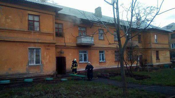 Подожженный дом в Краматорске