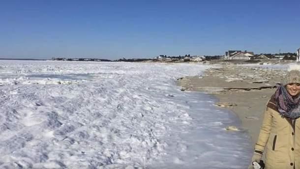 У берегов США замерз Атлантический океан: появилось видео редкого явления