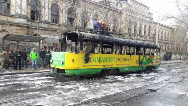В центрі Одеси горів траймвай