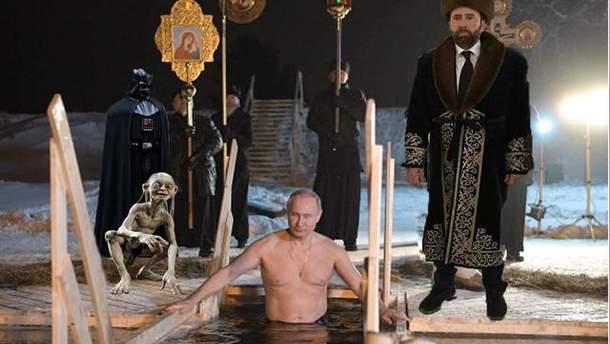 Владимир Путин нырнул в прорубь
