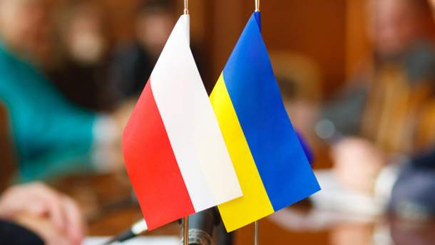Украинский флаг в Польше
