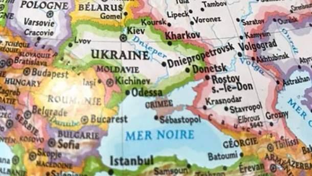 Карта глобусу, де Крим позначено як територію Росії