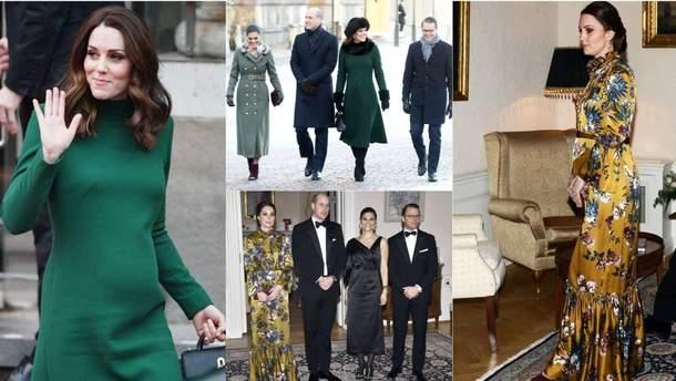 Беременная Кейт Миддлтон примерила волшебные образы на встречах с королем Швеции