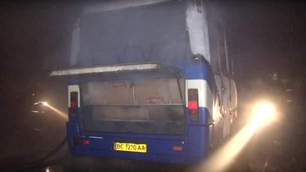 Пожар автобуса во Львове