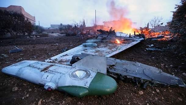 Обломки Су-25, сбитого неподалеку сирийского города Саракиб