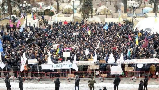 Сотни пенсионеров вышли на протест под Верховную Раду