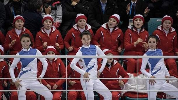 Поддержка команды Северной Кореи на Олимпиаде-2018 в Пхенчхане