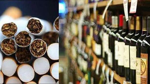 Стоимость алкоголя и сигарет