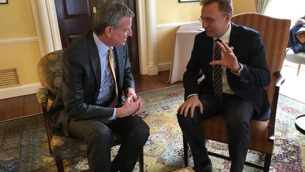 Встреча мэра Нью-Йорка Де Блазио и мэра Львова Андрея Садового