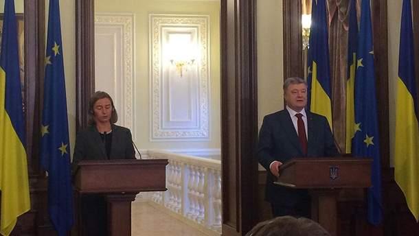 Брифінг Петра Порошенко та Федеріки Могеріні