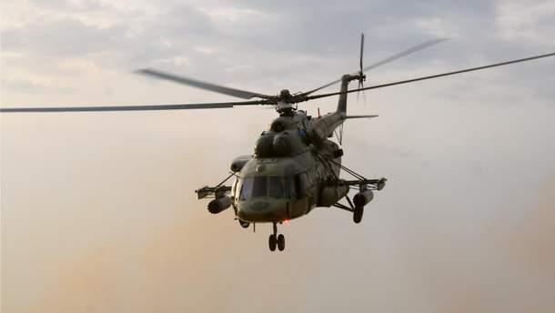 Hазбился вертолет