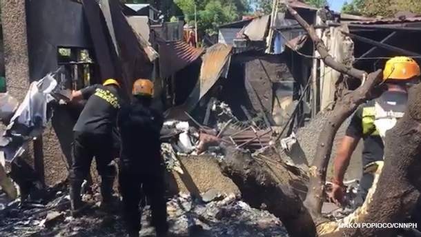 Место аварии самолета на Филиппинах