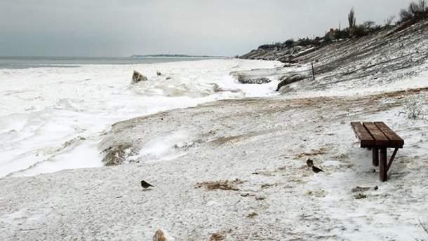 Заснеженные пляжи Азовского моря