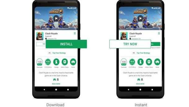 Скріншот з відео-презентації Google Play Instant