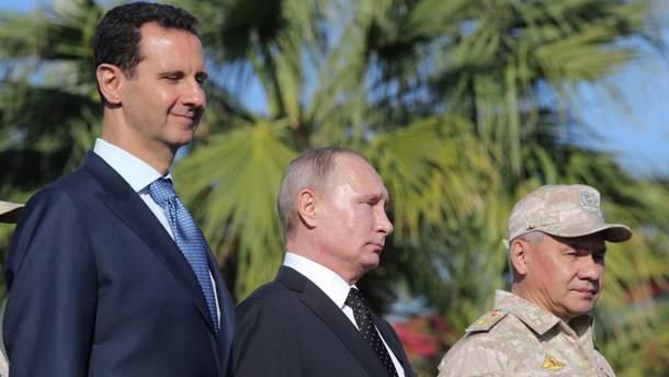 Башар Асад, Володимир Путін і міністр оборони Росії Сергій Шойгу