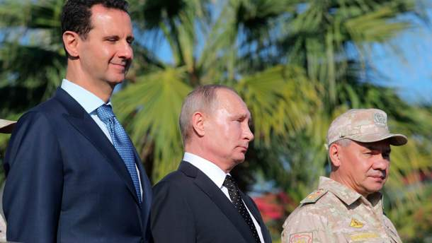 Башар Асад, Владимир Путин и министр обороны России Сергей Шойгу
