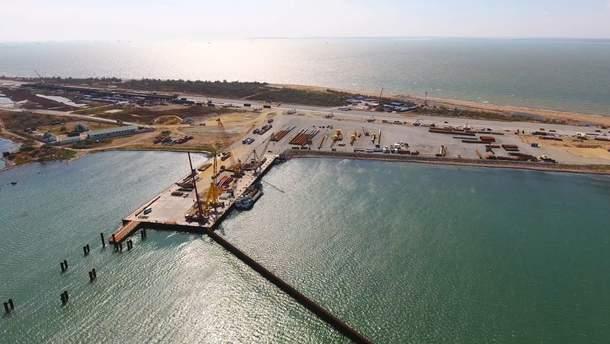 Строительство Керченского моста на острове Тузла