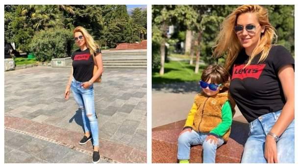 Яна Клочкова з сином в Криму