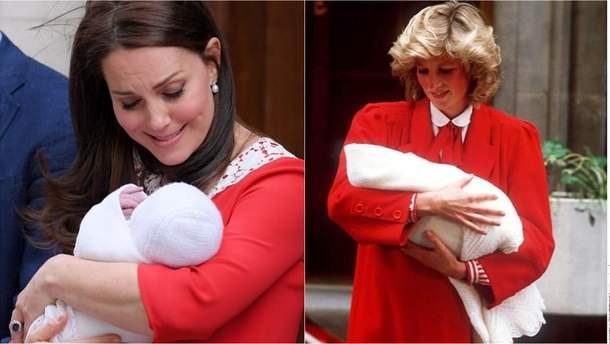 Кейт Миддлтон с сыном (2018 год) и принцесса Диана с сыном Гарри (1984 год)