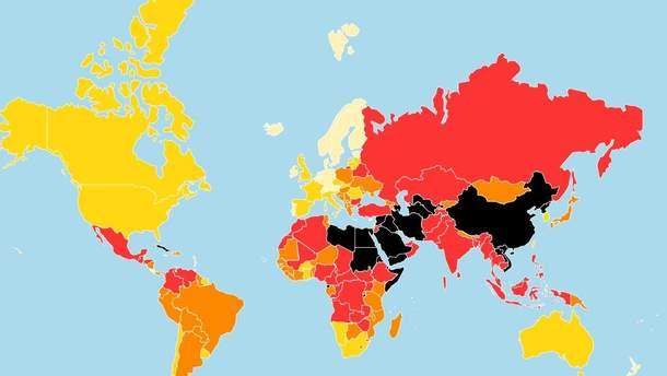 Рейтинг свободы прессы в мире: более светлый цвет – больше свободы слова в стране