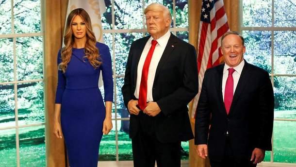 Восковая фигура Мелании Трамп и Дональда Трампа