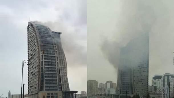 Пожар в Trump Tower в Баку 28 апреля