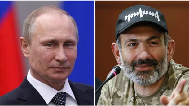 Путін привітав Пашиняна із обранням його прем'єром Вірменії