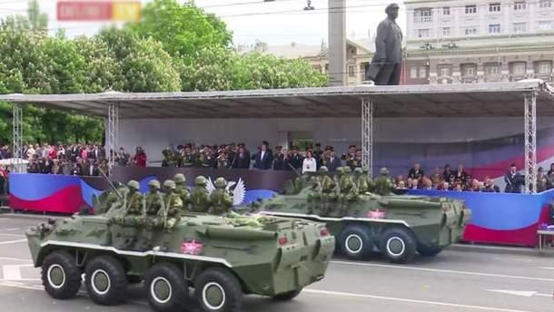 Військовий парад в окупованому Донецьку 9 травня