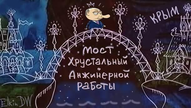Кримський міст і Путін: карикатура