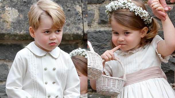 Принц Джордж и принцесса Шарлотта в роли помощников на свадьбе Пиппы Миддлтон