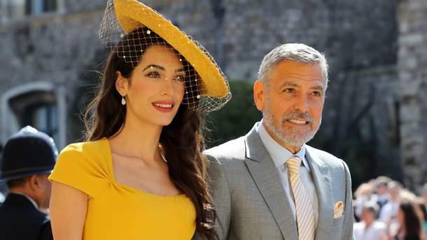 Джордж и Амаль Клуни на свадьбе принца Гарри и Меган Маркл