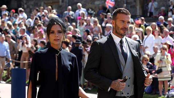 Дэвид и Виктория Бекхэм на королевской свадьбе