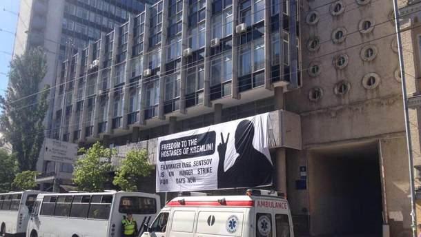 """Банер на підтримку Сенцова у КМДА назвали """"політичною рекламою"""""""