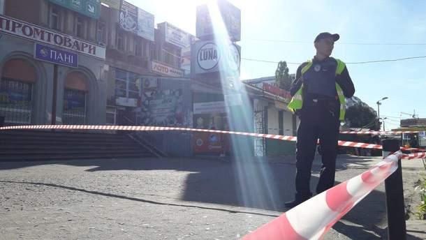Место взрыва гранаты в Сумах