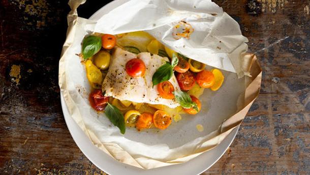 Рецепт рыбы с овощами и базиликом