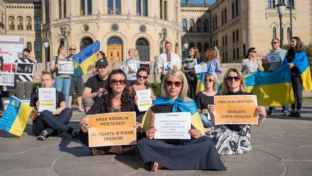 Акцию в поддержку Олега Сенцова устроили в Осло
