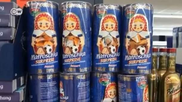 В Германии украинскими конфетами рекламируют ЧМ-2018 в России