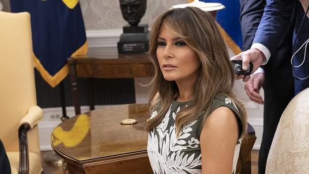 Чарівна Меланія Трамп вразила дивовижною сукнею на зустрічі з королем Іспанії: фото