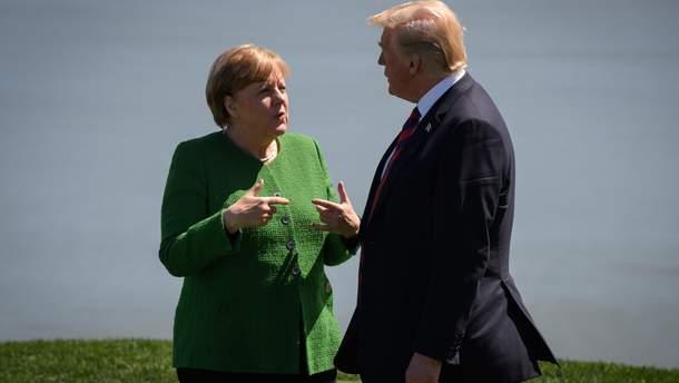 Ангела Меркель и Дональд Трамп на саммите G7