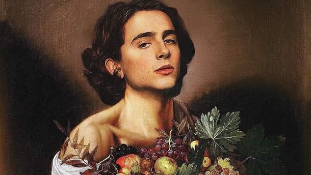 Тімоті Шаламе на картині Мікеланджело да Караваджо