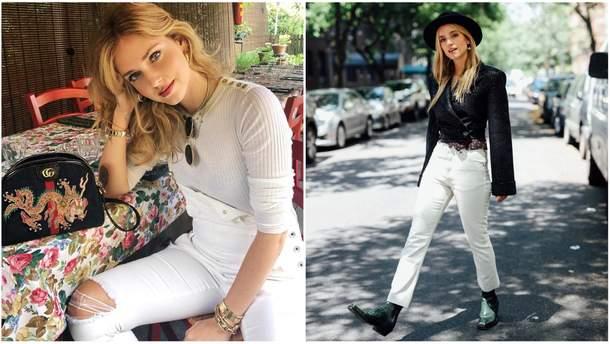 З чим носять білі джинси світові фешн-блогери  стильні ідеї у фото ... 3b98b856db317