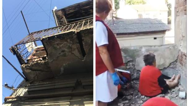 В Ивано-Франковске обрушился балкон, на котором біла пожилая женщина