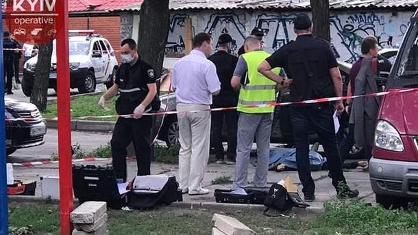 Фото с места убийства мужчины в Киеве
