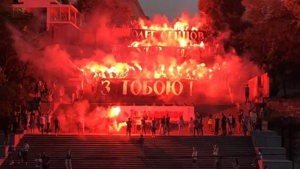 6 июля в Одессе прошла зрелищная акция в поддержку украинского режиссера Олега Сенцова